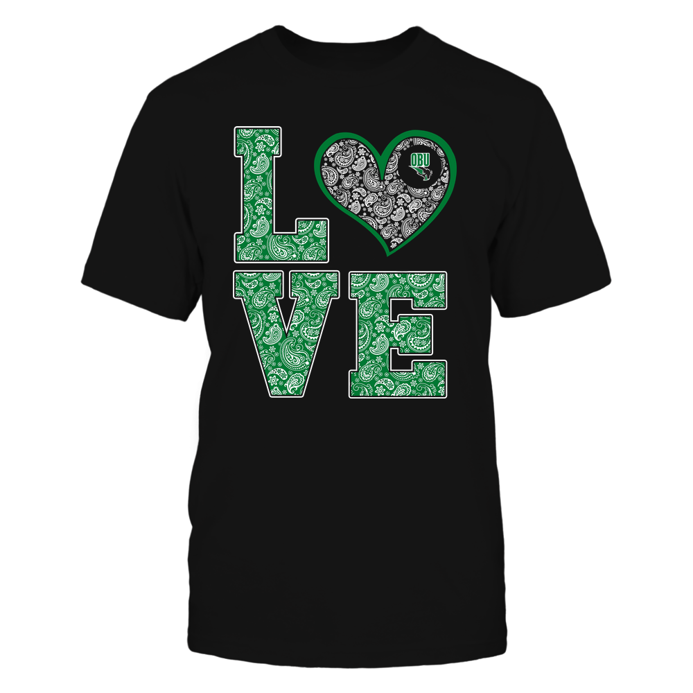 Oklahoma Baptist Bison - Stacked Love Heart - Paisley Patterned - Team Front picture