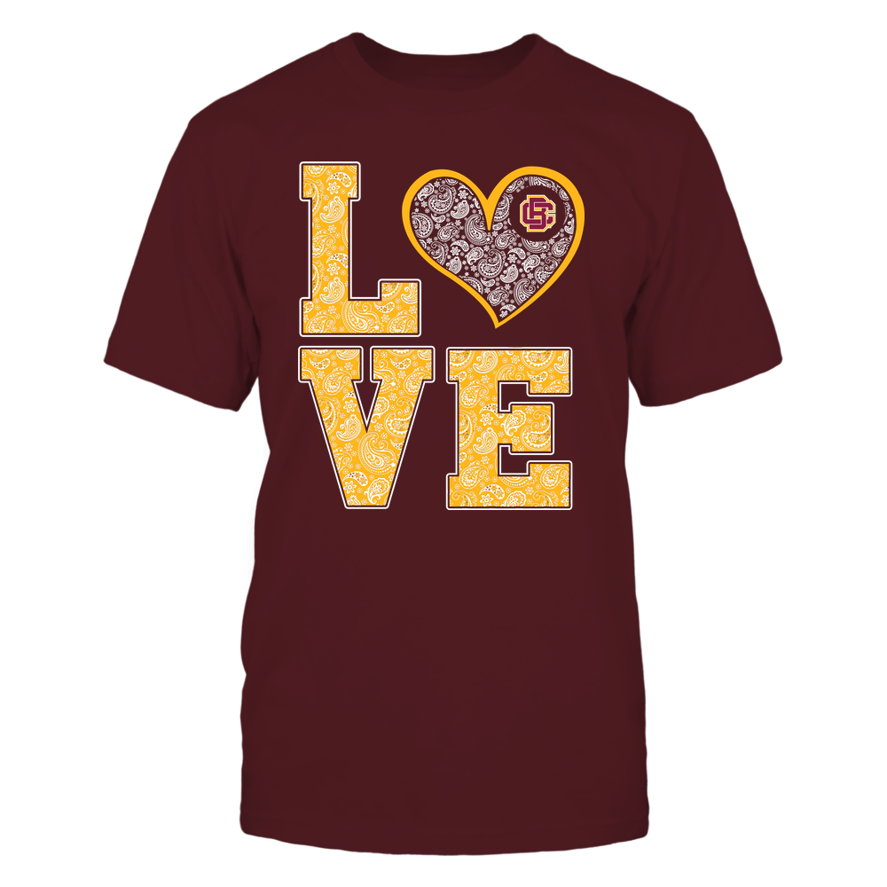 Bethune-Cookman Wildcats - Stacked Love Heart - Paisley Patterned - Team Front picture