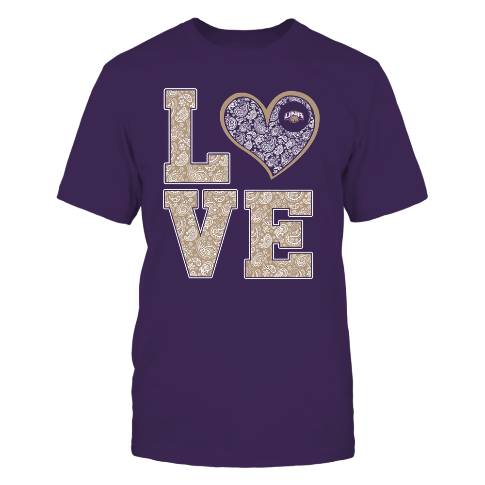 North Alabama Lions - Stacked Love Heart - Paisley Patterned - Team Front picture