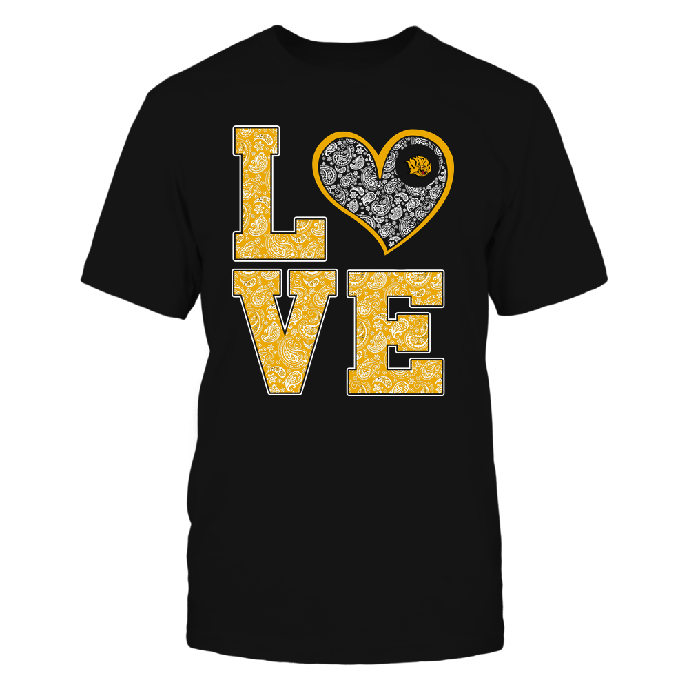 Arkansas Pine Bluff Golden Lions - Stacked Love Heart - Paisley Patterned - Team Front picture