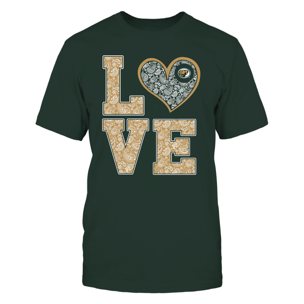 Bemidji State Beavers - Stacked Love Heart - Paisley Patterned - Team Front picture