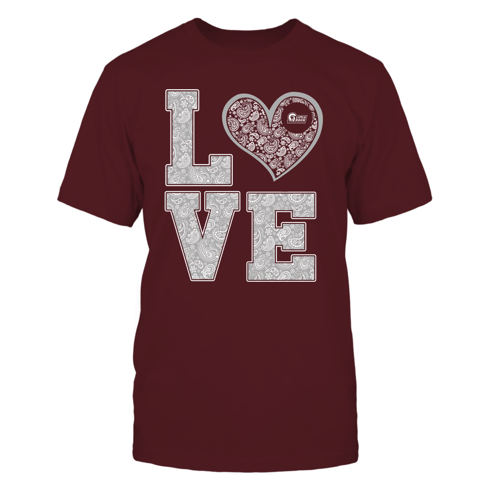 Arkansas Little Rock Trojans - Stacked Love Heart - Paisley Patterned - Team Front picture
