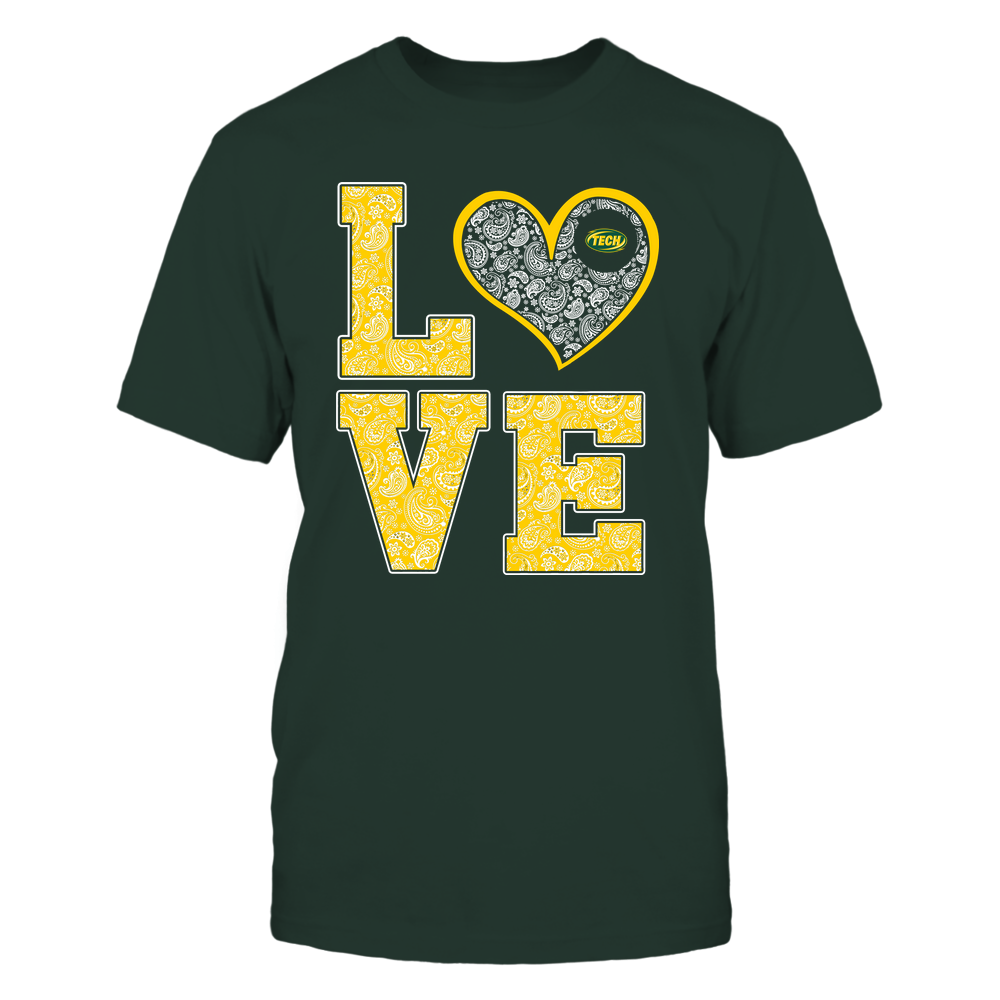 Arkansas Tech Golden Suns - Stacked Love Heart - Paisley Patterned - Team Front picture