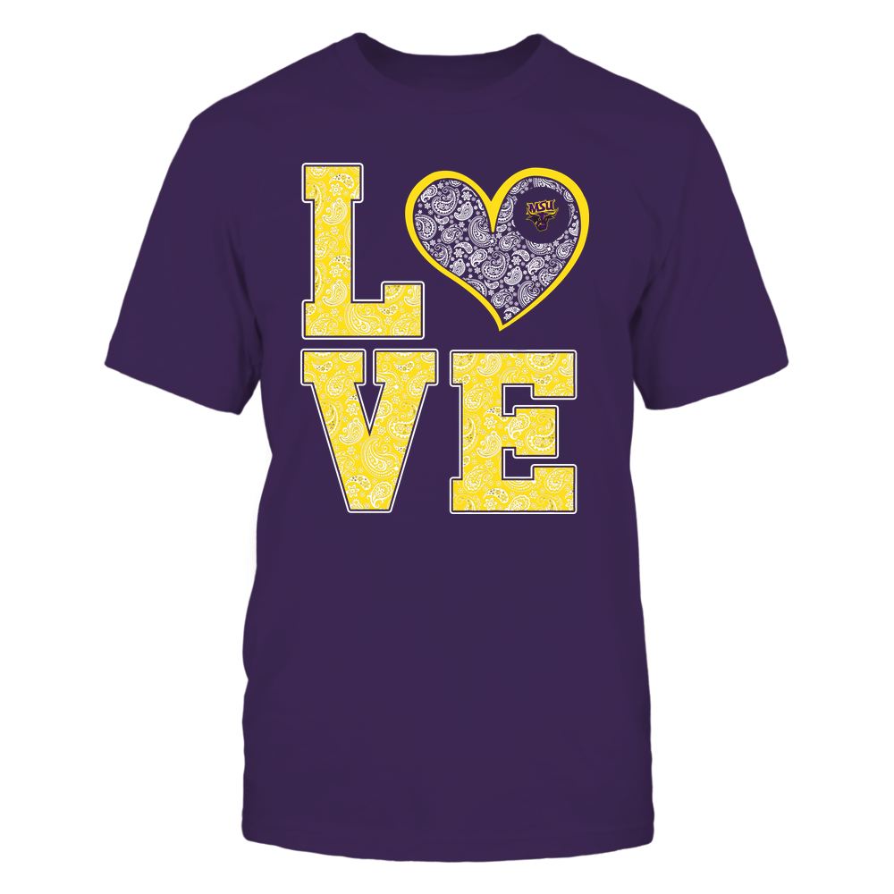 Minnesota State Mavericks - Stacked Love Heart - Paisley Patterned - Team Front picture