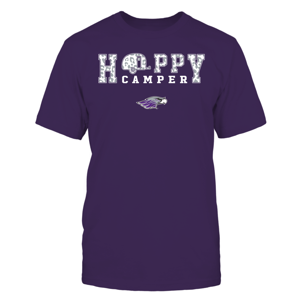 Wisconsin-Whitewater Warhawks - Camping - Happy Camper - Leopard Pattern Front picture