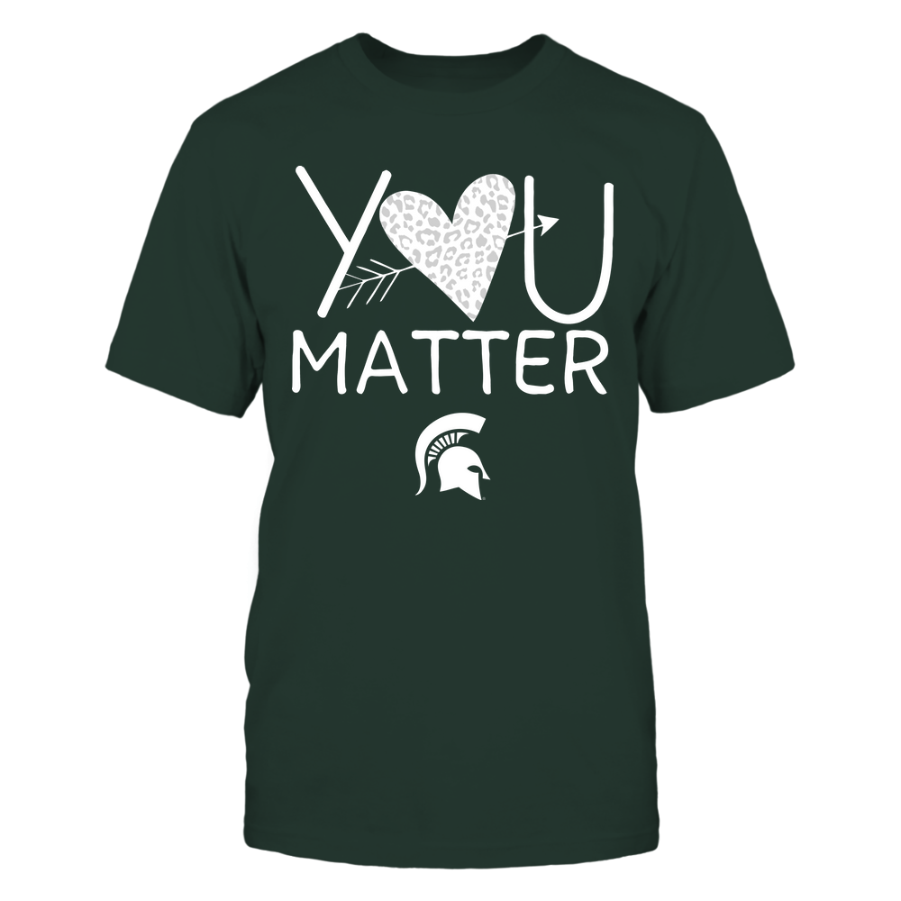 Michigan State Spartans - Teacher - You Matter - Leopard Heart Front picture