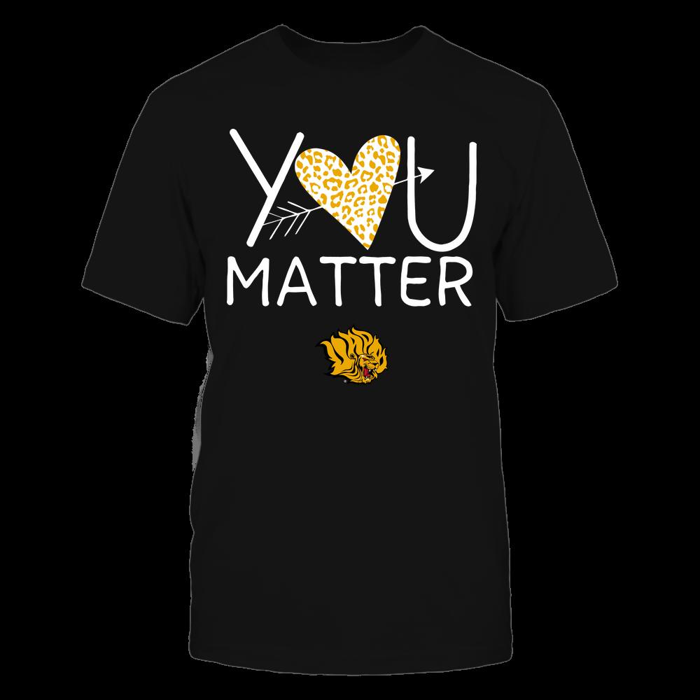 Arkansas Pine Bluff Golden Lions - Teacher - You Matter - Leopard Heart Front picture