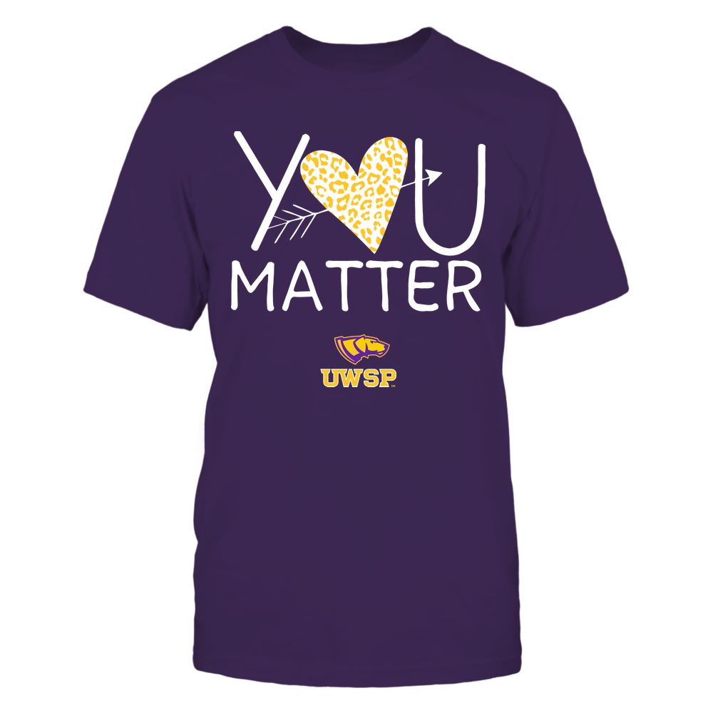 Wisconsin-Stevens Point Pointers - Teacher - You Matter - Leopard Heart Front picture