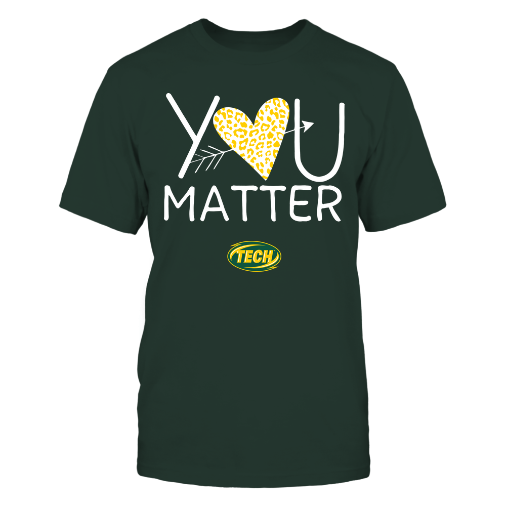 Arkansas Tech Golden Suns - Teacher - You Matter - Leopard Heart Front picture