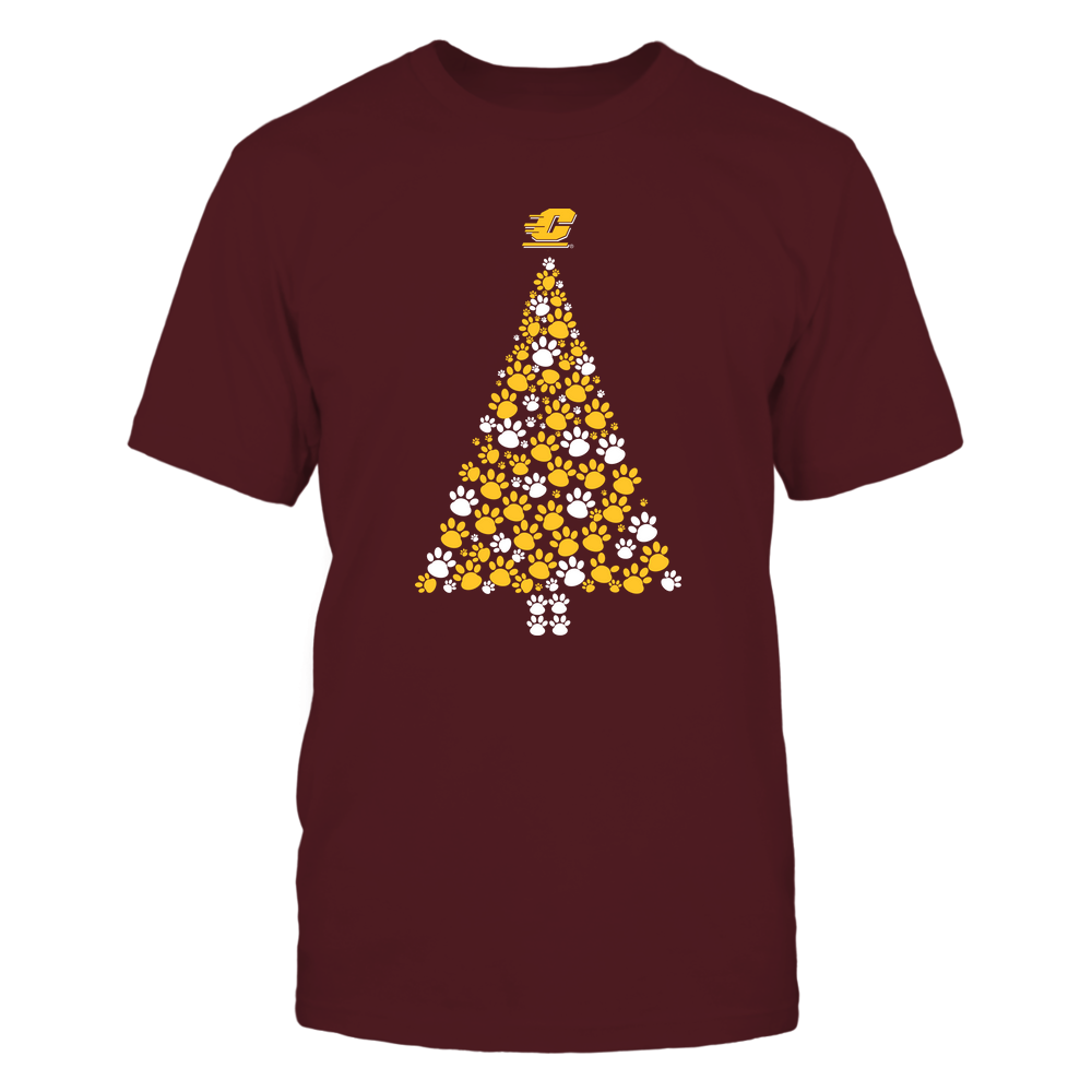 Central Michigan Chippewas - Christmas - Dog Paw Christmas Tree - Team Front picture