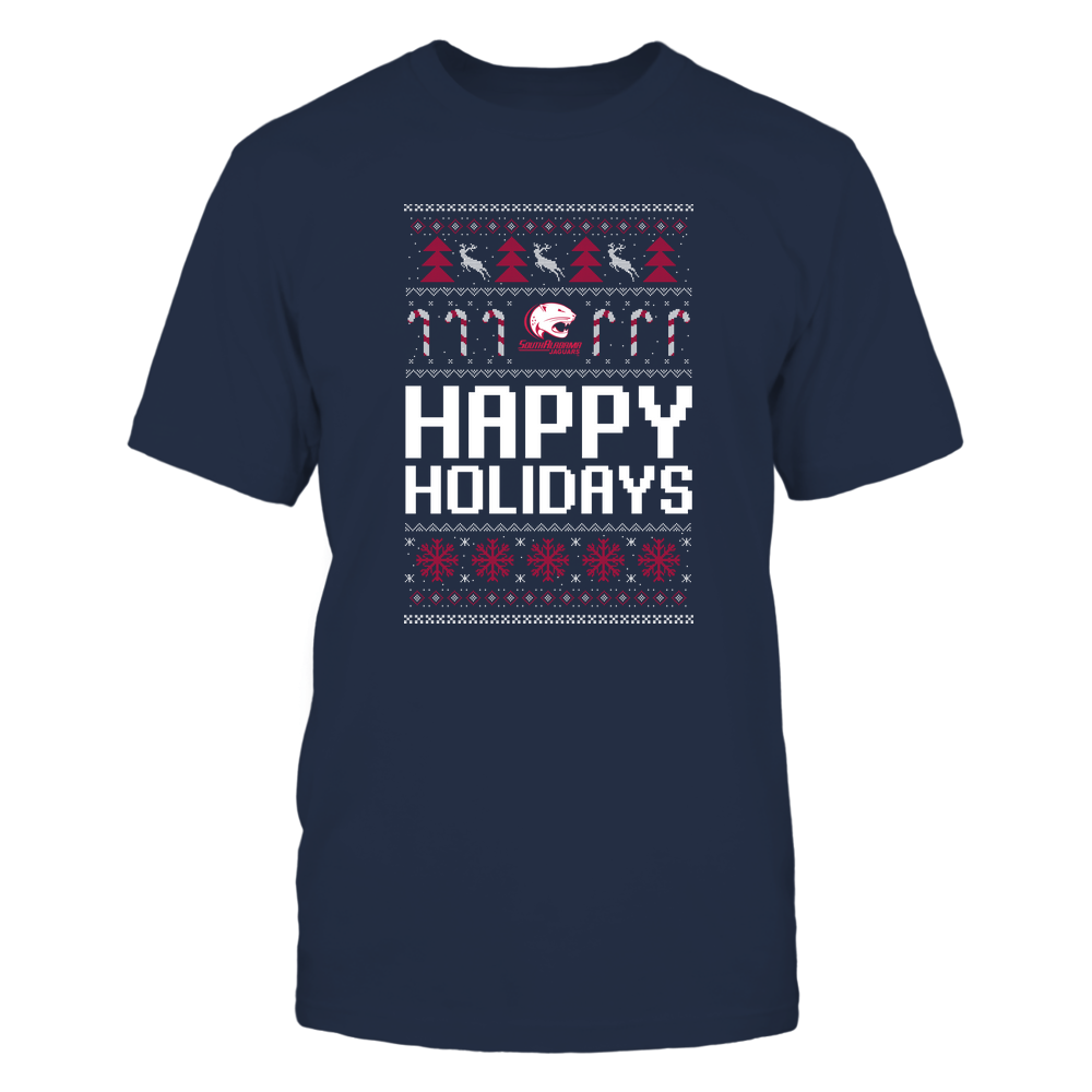 South Alabama Jaguars - Christmas - Happy Holidays Sweater - Team Front picture
