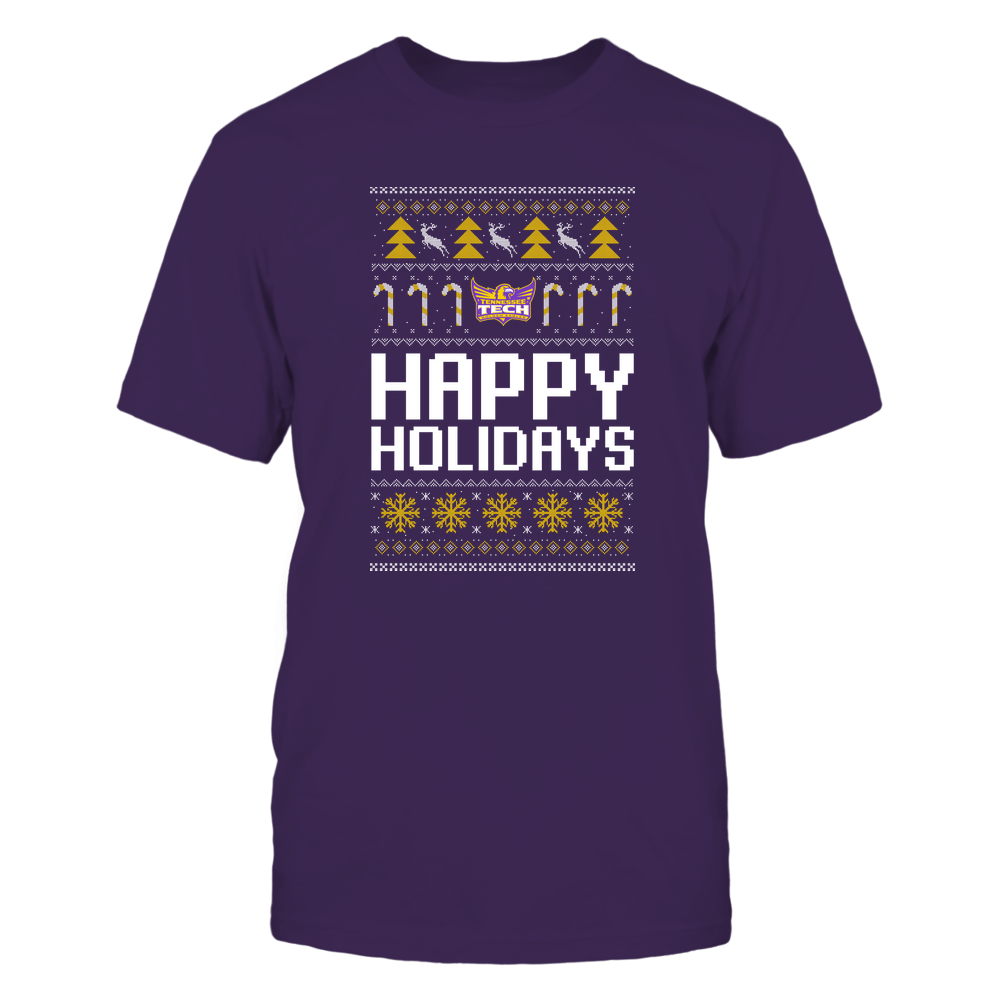 Tennessee Tech Golden Eagles - Christmas - Happy Holidays Sweater - Team Front picture