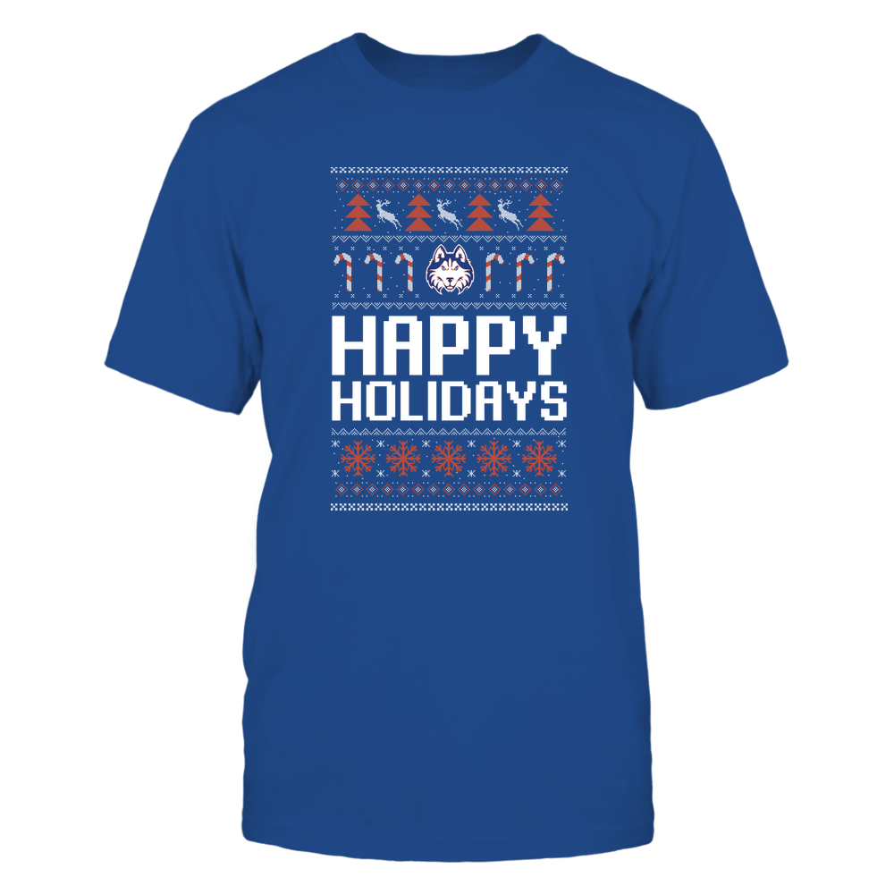 Houston Baptist Huskies - Christmas - Happy Holidays Sweater - Team Front picture