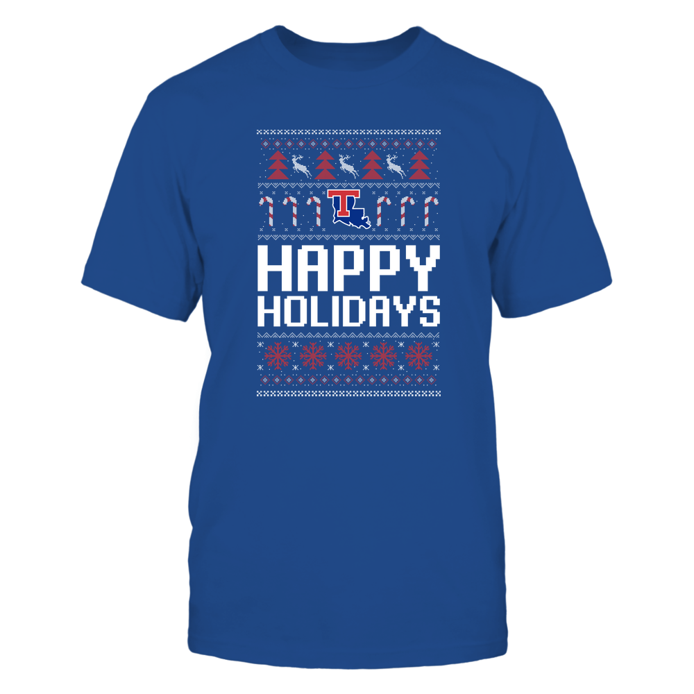 Louisiana Tech Bulldogs - Christmas - Happy Holidays Sweater - Team Front picture