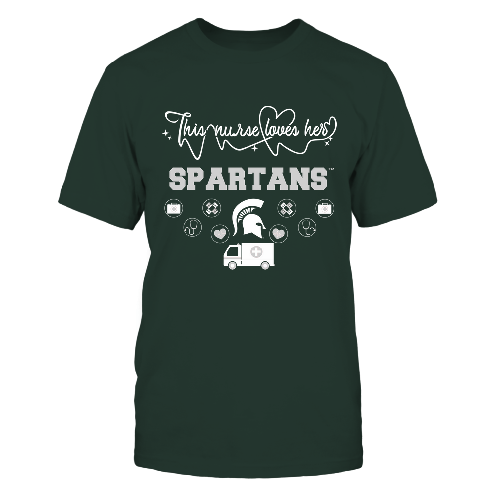 Michigan State Spartans - Nurse Loves Team - Mascot Pattern - Team Front picture