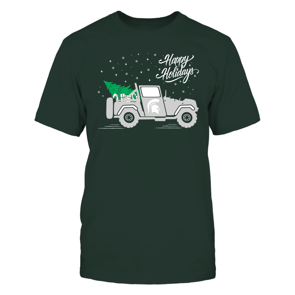 Michigan State Spartans - Happy Holidays - Christmas Jeep Tree - Team Front picture