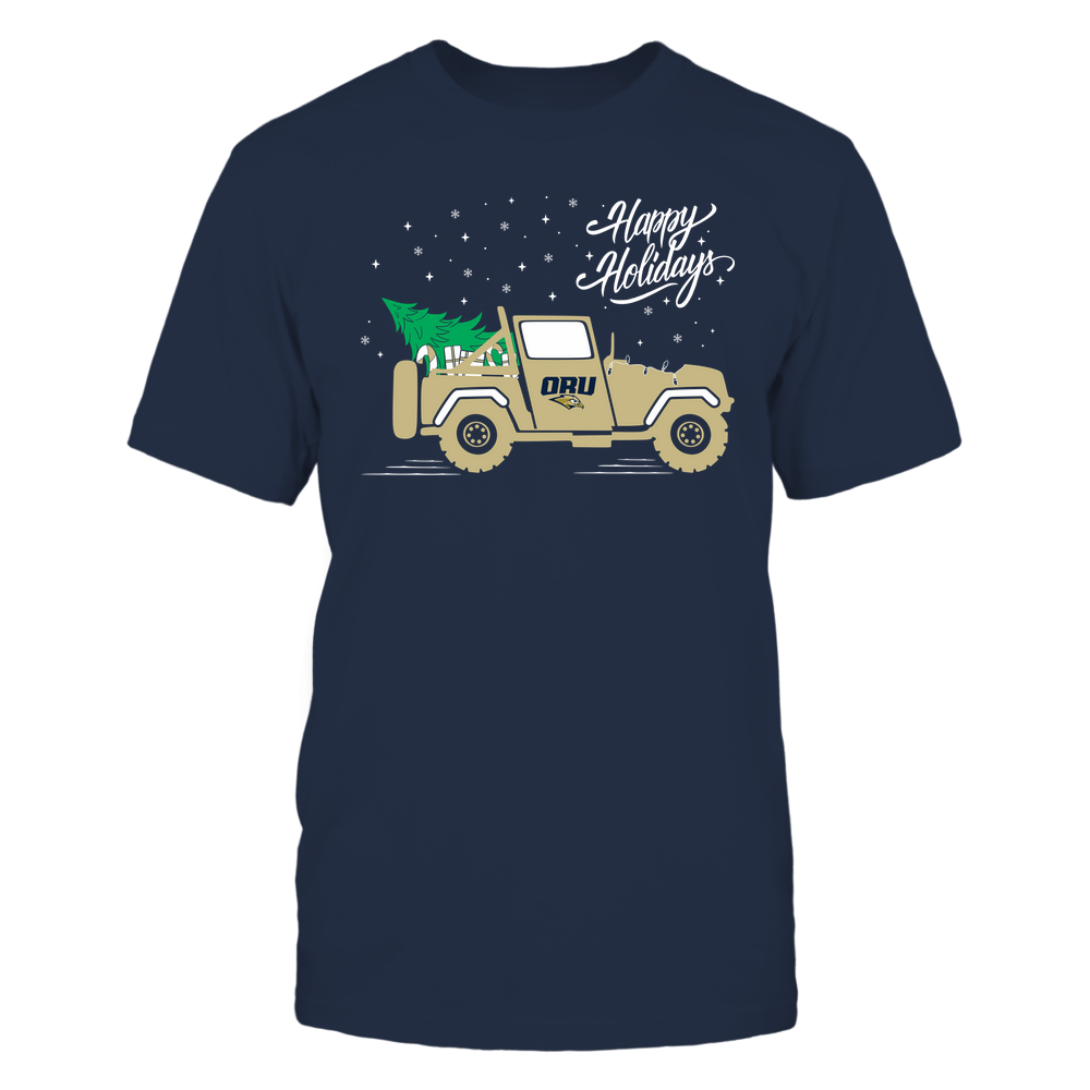 Oral Roberts Golden Eagles - Happy Holidays - Christmas Jeep Tree - Team Front picture