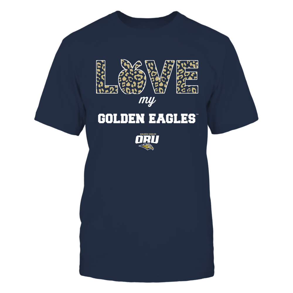 Oral Roberts Golden Eagles - Teacher - Love My Team - Leopard Pattern Front picture
