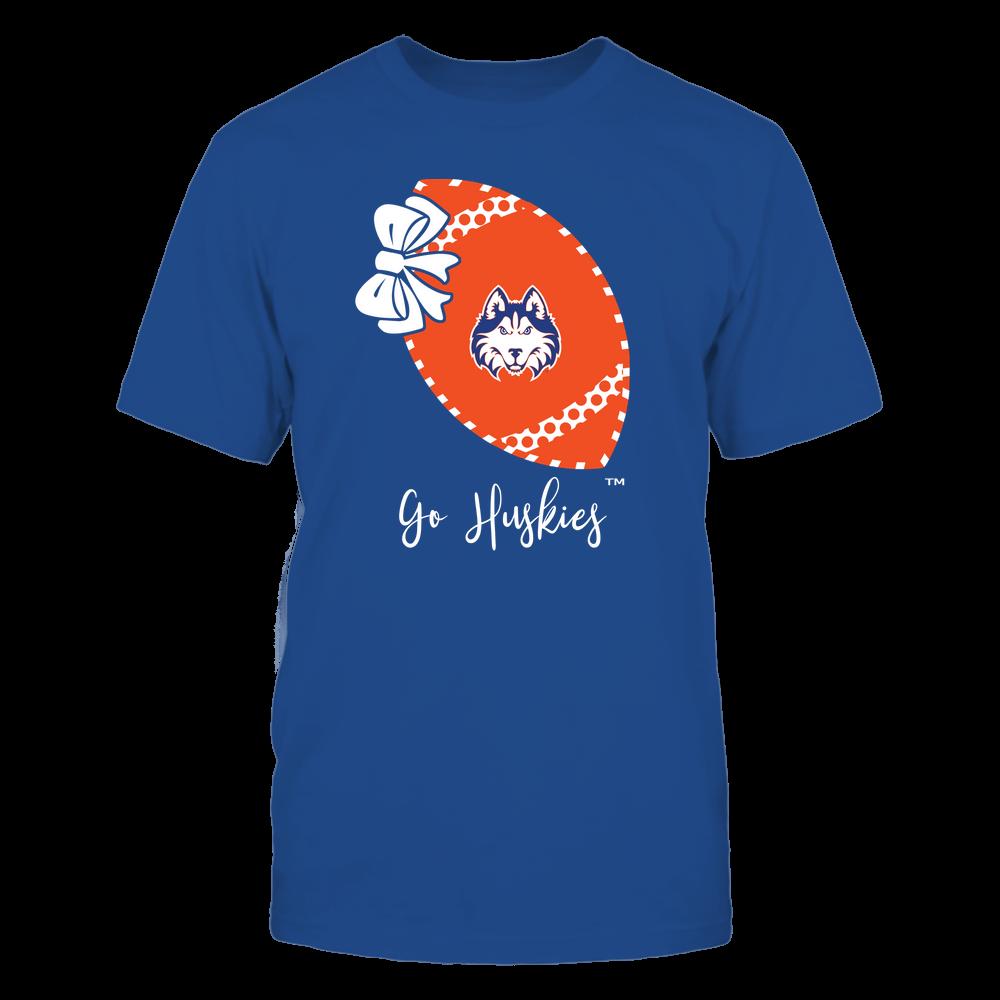 Houston Baptist Huskies - Football Bow - Polka Dots - Slogan Front picture