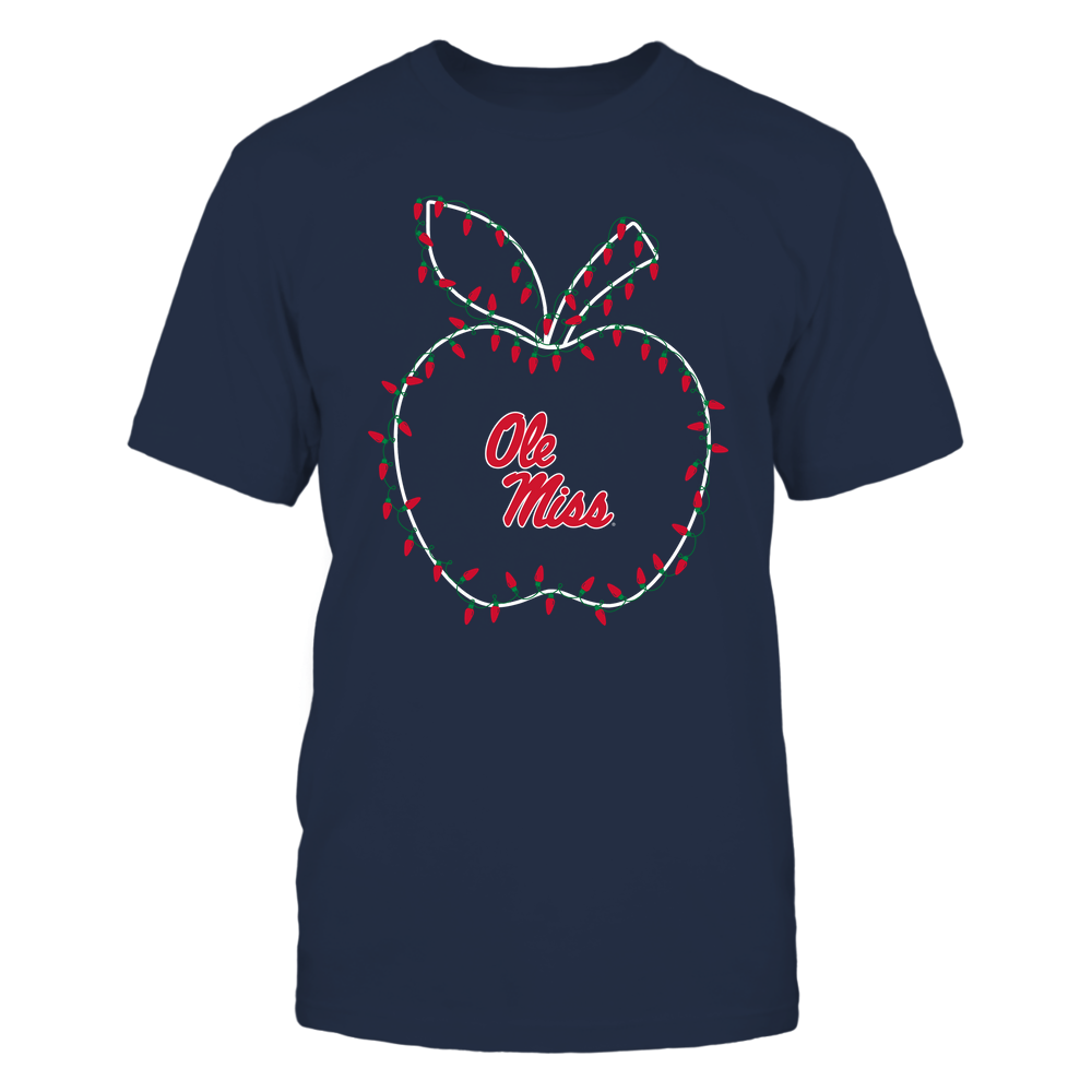 Ole Miss Rebels - Christmas - Teacher Apple - Christmas Lights Team Color - Team Front picture