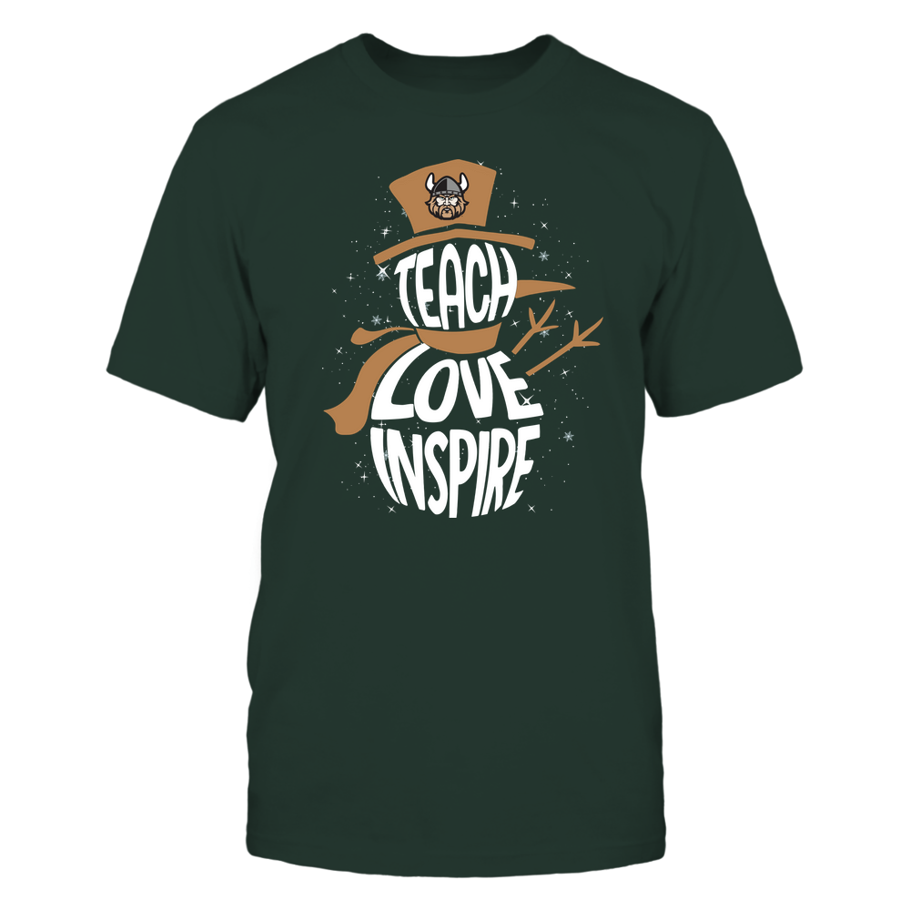 Cleveland State Vikings - Chrismas - Teacher - Teach Love Inspire Inside Snowman Front picture