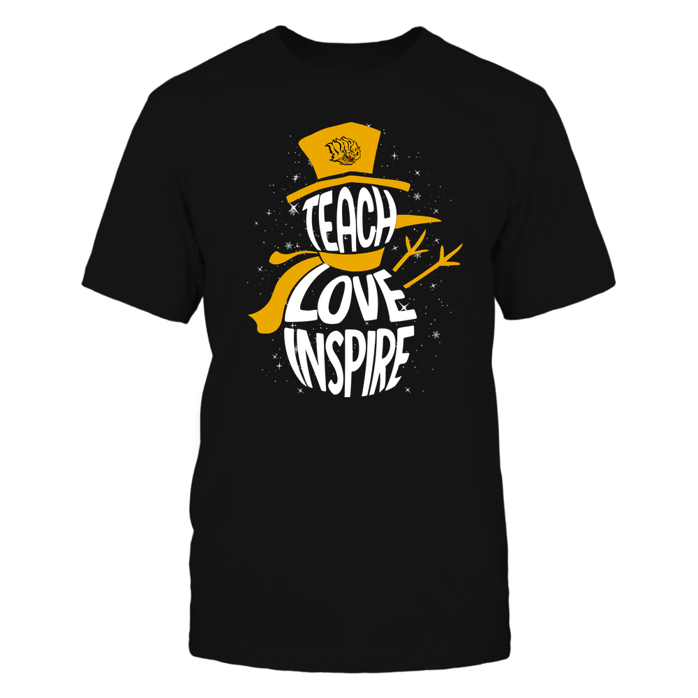 Arkansas Pine Bluff Golden Lions - Chrismas - Teacher - Teach Love Inspire Inside Snowman Front picture