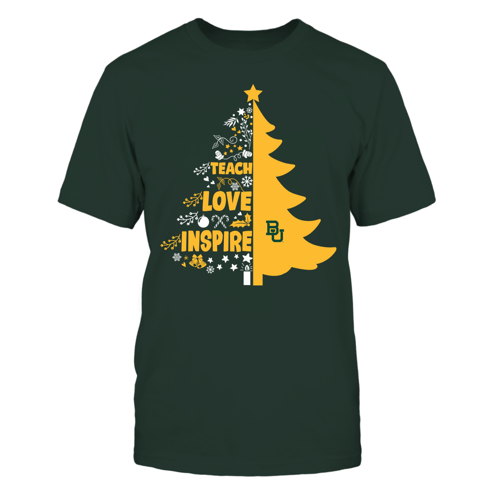 Baylor Bears - Christmas - Teacher - Teach Love Inspire Christmas Tree Front picture