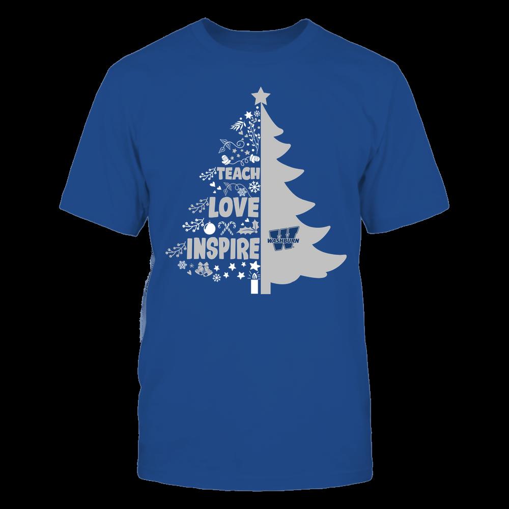 Washburn Ichabods - Christmas - Teacher - Teach Love Inspire Christmas Tree Front picture