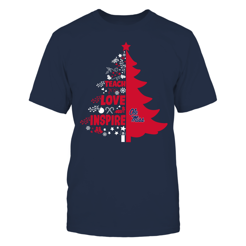 Ole Miss Rebels - Christmas - Teacher - Teach Love Inspire Christmas Tree Front picture
