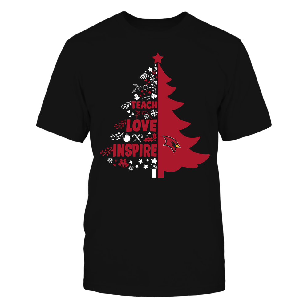 Saginaw Valley State Cardinals - Christmas - Teacher - Teach Love Inspire Christmas Tree Front picture