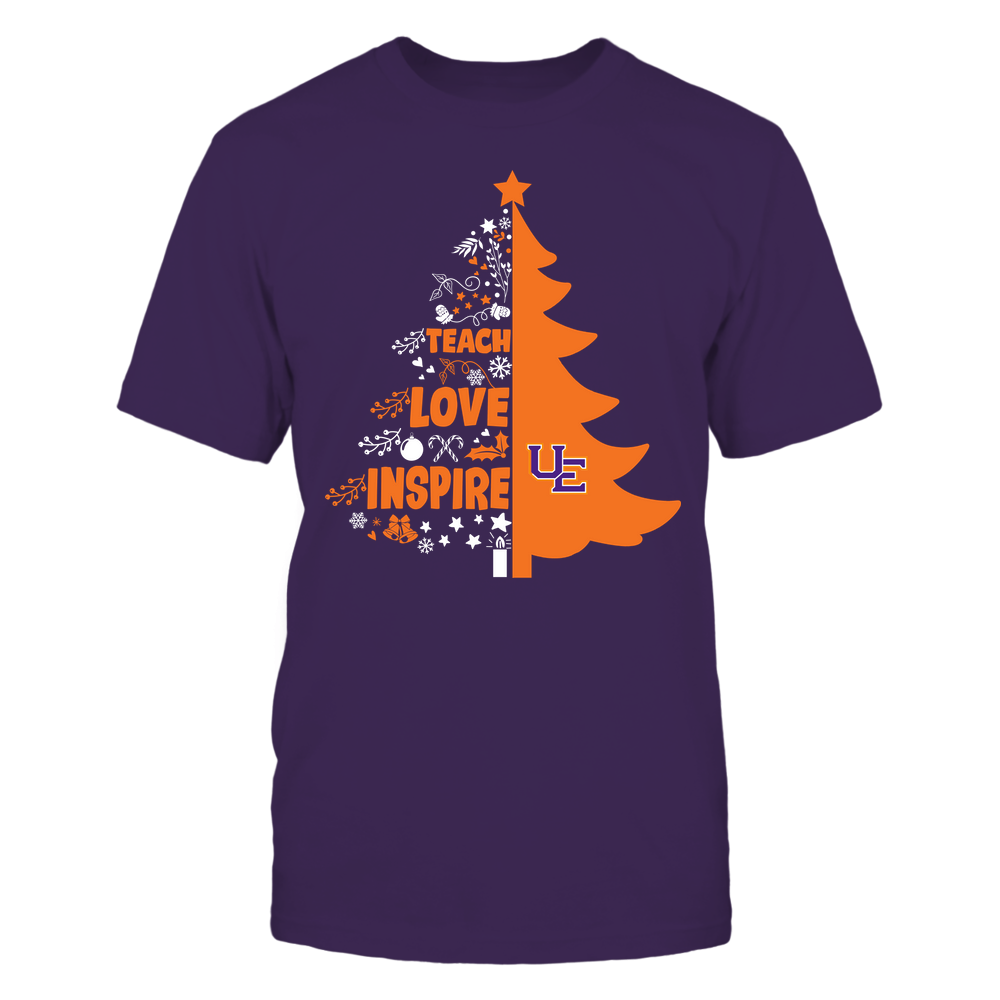 Evansville Purple Aces - Christmas - Teacher - Teach Love Inspire Christmas Tree Front picture
