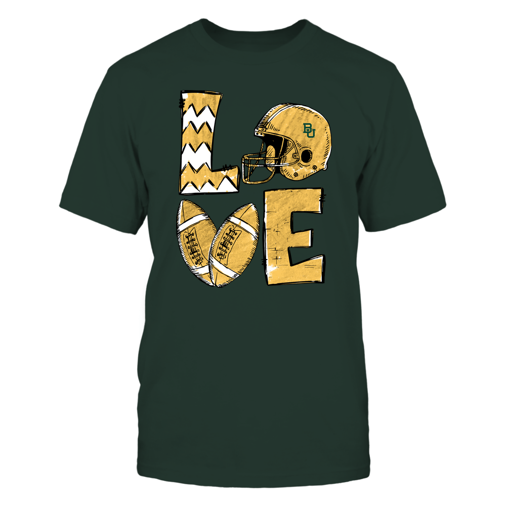 Baylor Bears - Football Stacked Love Helmet  - Hand Draw - Team Front picture