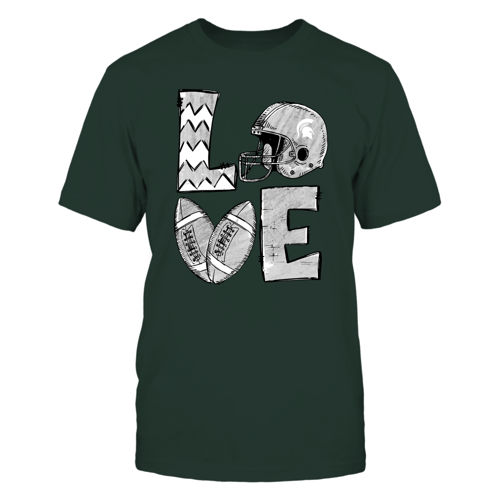 Michigan State Spartans - Football Stacked Love Helmet - Hand Draw - Team - IF-IC32-DS38 Front picture