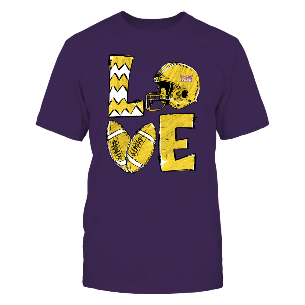 Tennessee Tech Golden Eagles - Football Stacked Love Helmet  - Hand Draw - Team Front picture