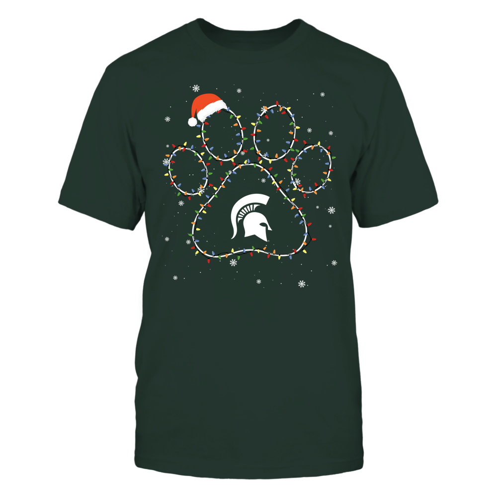 Michigan State Spartans - Christmas - Christmas Light Paw - Team Front picture