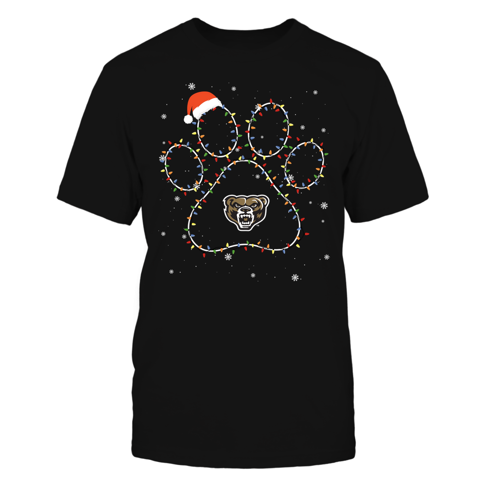 Oakland Golden Grizzlies - Christmas - Christmas Light Paw - Team Front picture