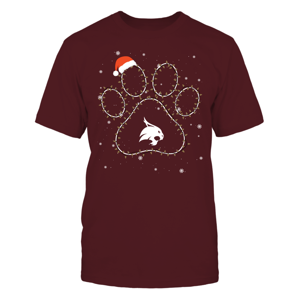 Texas State Bobcats - Christmas - Christmas Light Paw Team Color - Team Front picture
