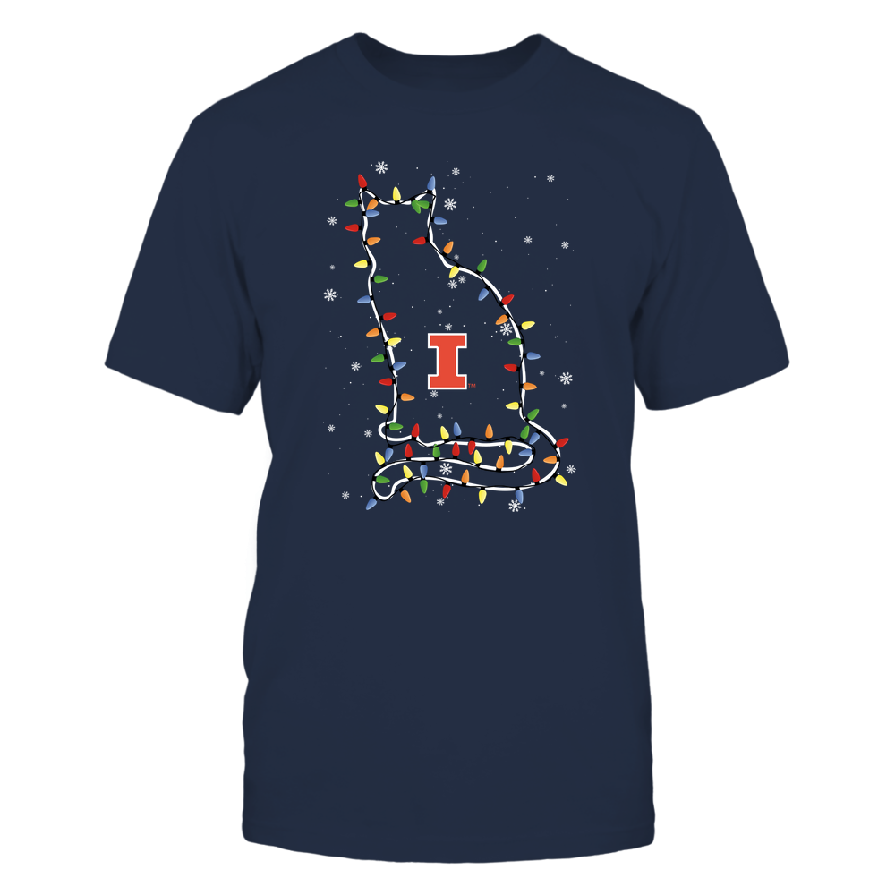 Illinois Fighting Illini - Christmas - Cat - Christmas Lights Front picture