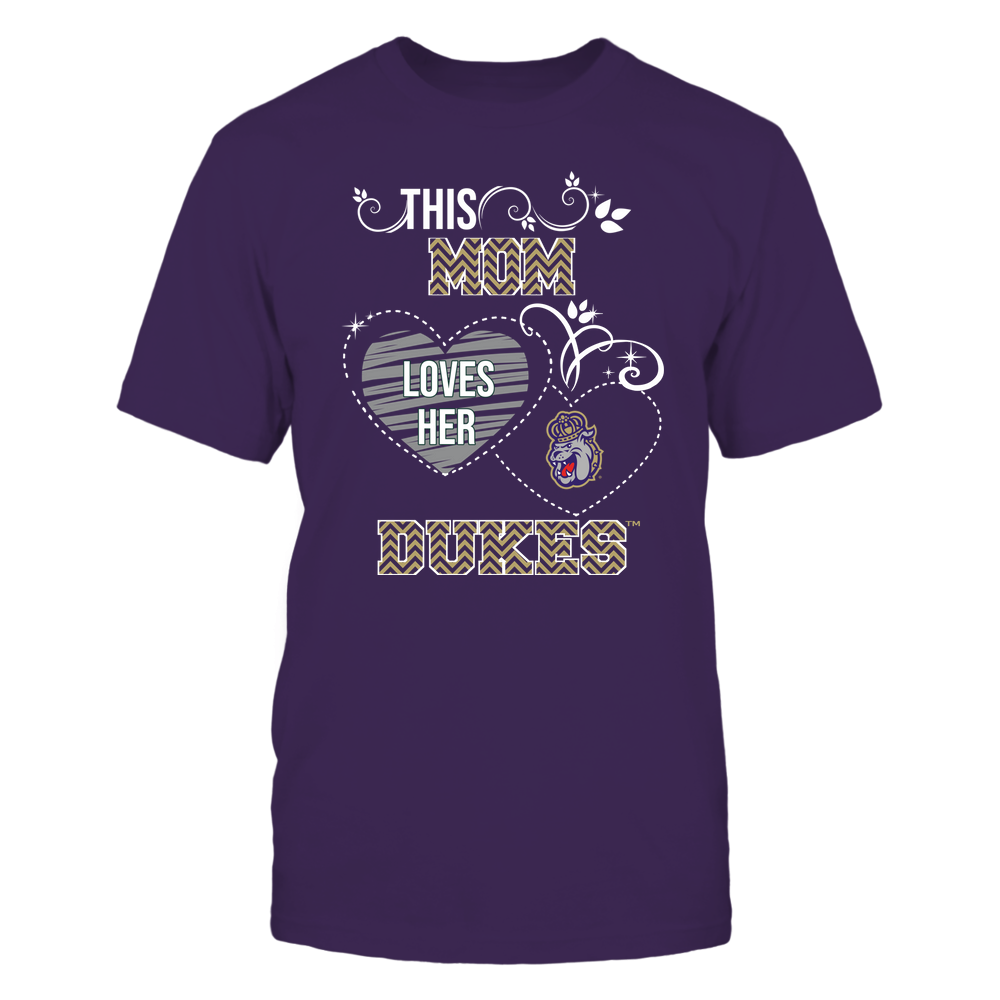 James Madison Dukes - This Mom Loves Team ^ Mascot ^ Chevron Pattern Front picture