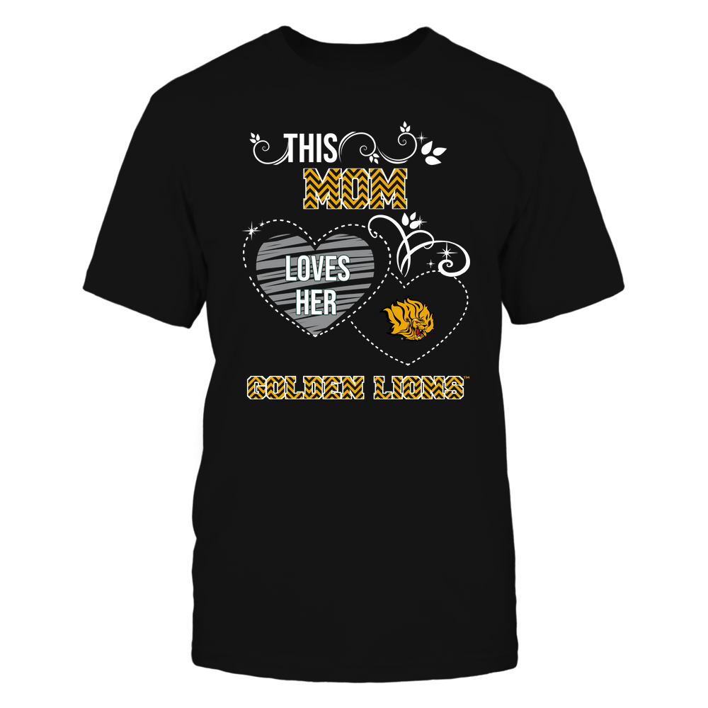 Arkansas Pine Bluff Golden Lions - This Mom Loves Team ^ Mascot ^ Chevron Pattern Front picture