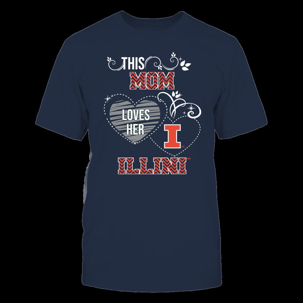 Illinois Fighting Illini - This Mom Loves Team ^ Mascot ^ Chevron Pattern Front picture