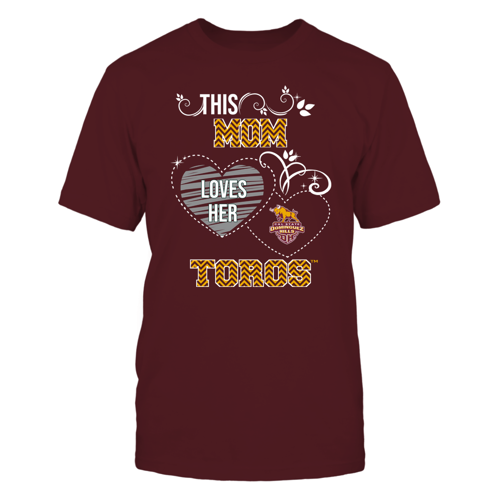 Cal State Dominguez Hills Toros - This Mom Loves Team ^ Mascot ^ Chevron Pattern Front picture