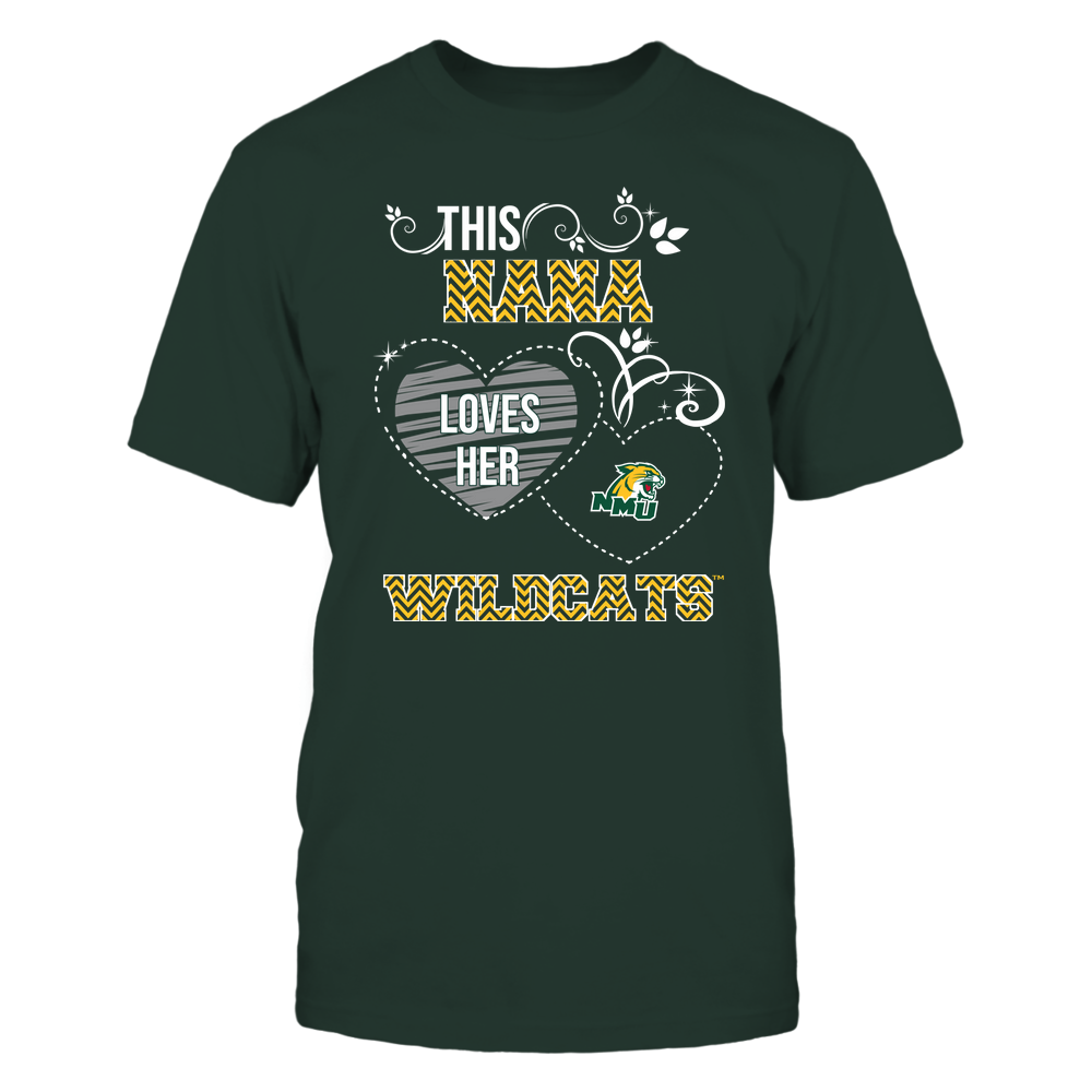 Northern Michigan Wildcats - This Nana Loves Team - Mascot - Chevron Pattern Front picture