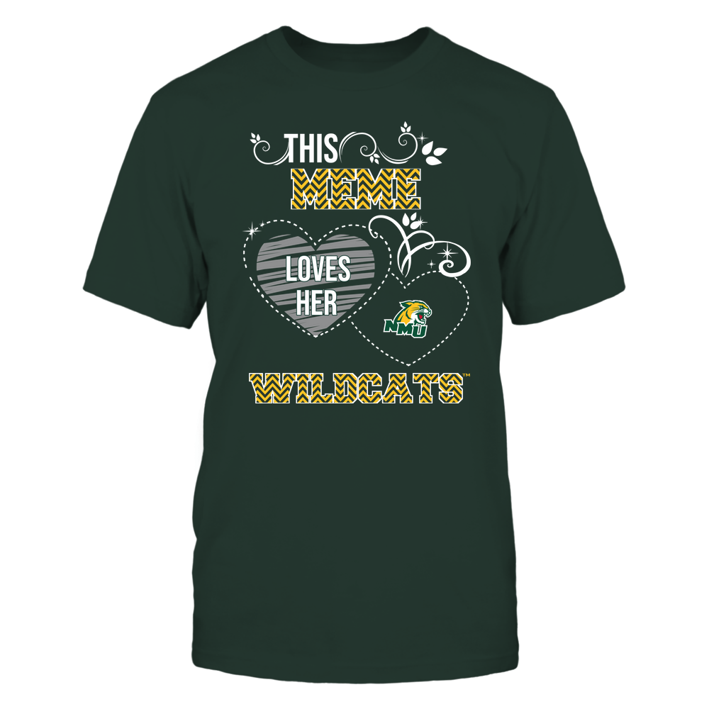 Northern Michigan Wildcats - This Meme Loves Team - Mascot - Chevron Pattern Front picture