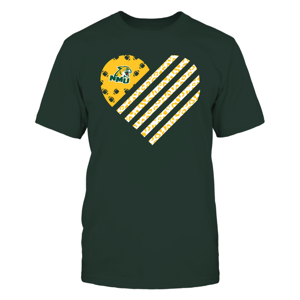 Northern Michigan Wildcats - Football - Leopard Flag - Heart Front picture