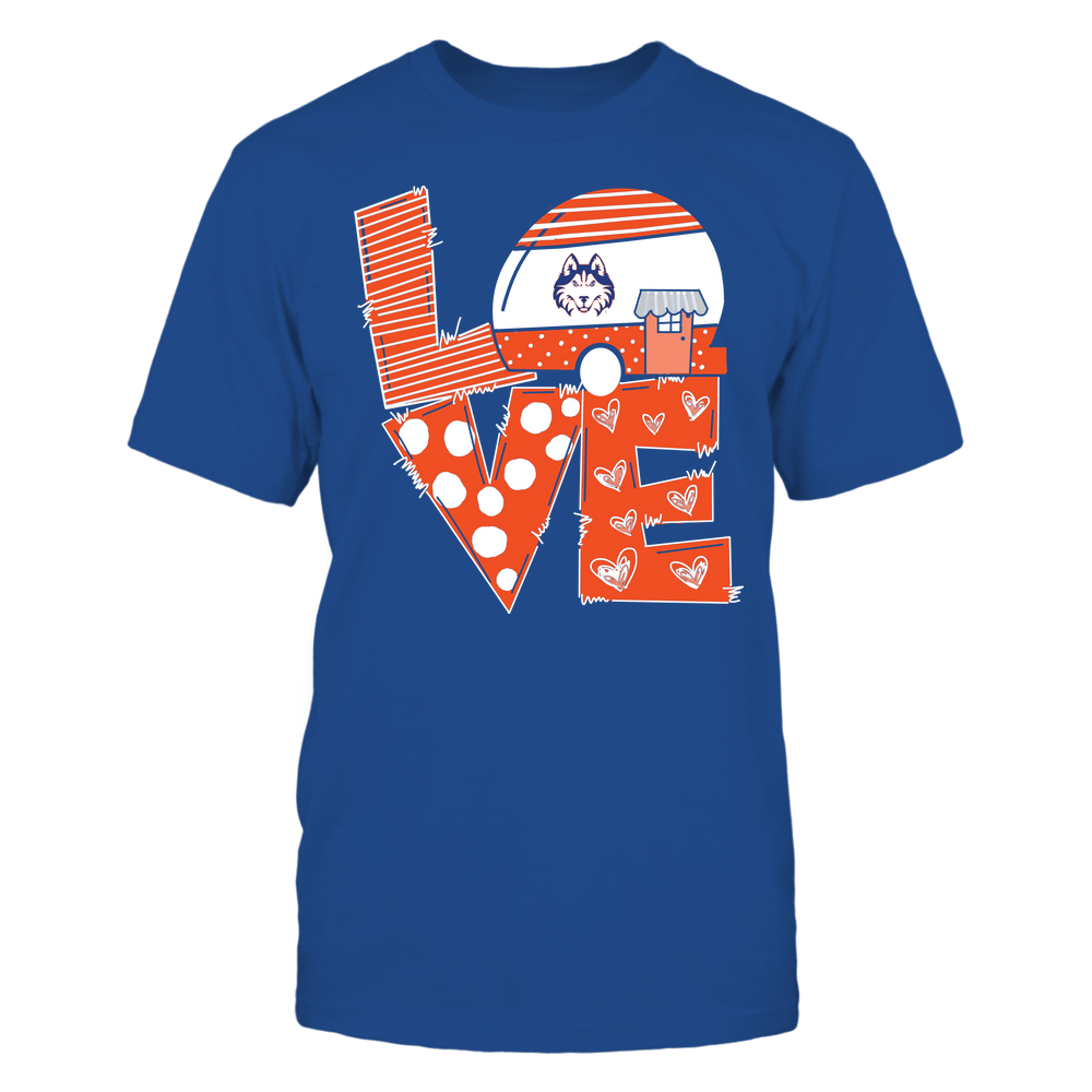 Houston Baptist Huskies - Camping - Stacked Love Camping Car - Hand Drawn Pattern Front picture