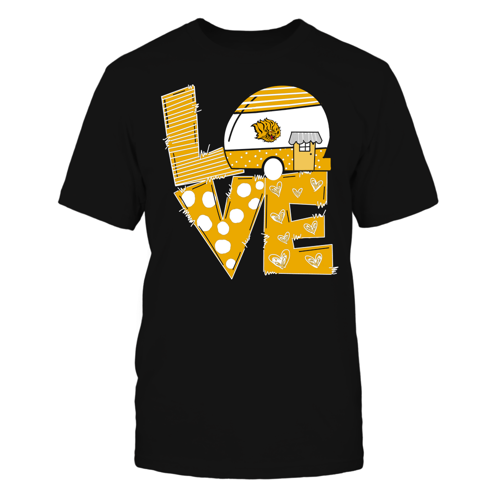 Arkansas Pine Bluff Golden Lions - Camping - Stacked Love Camping Car - Hand Drawn Pattern Front picture