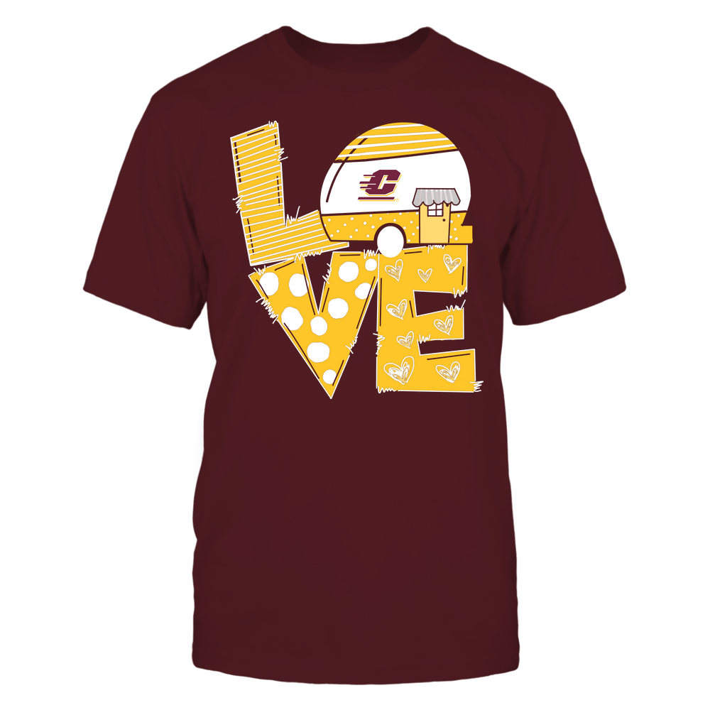 Central Michigan Chippewas - Camping - Stacked Love Camping Car - Hand Drawn Pattern Front picture