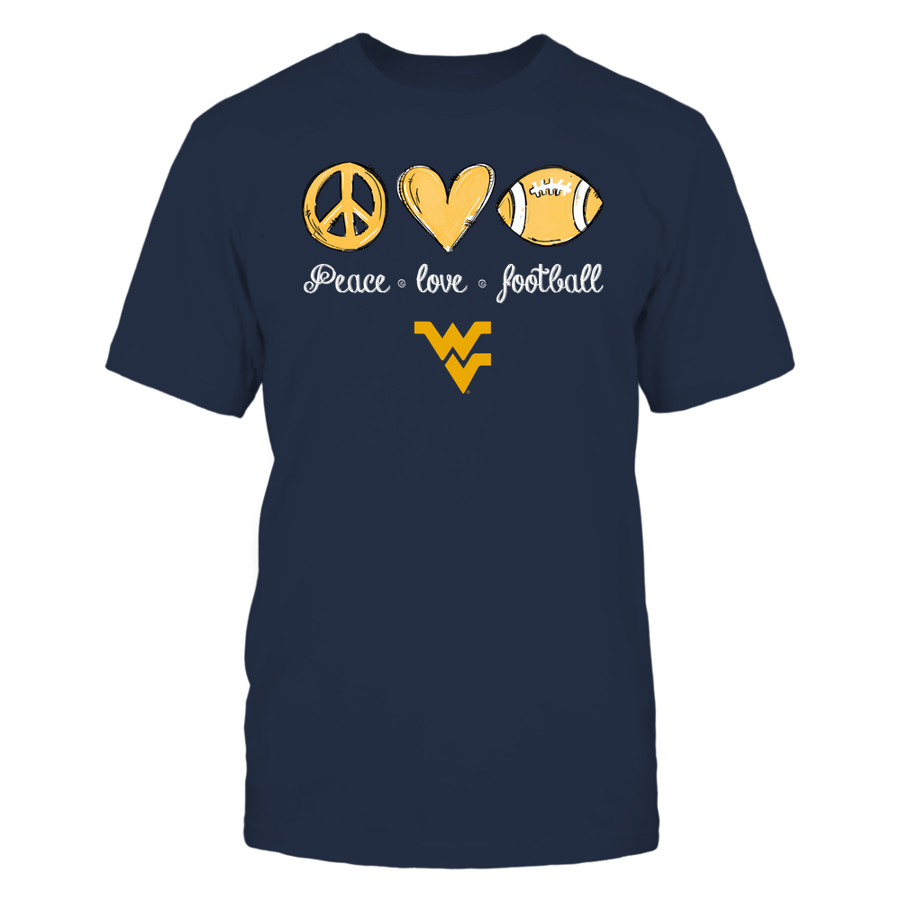 West Virginia Mountaineers - Peace Love Football - Hand Drawn - Team - IF-IC13-DS45 Front picture