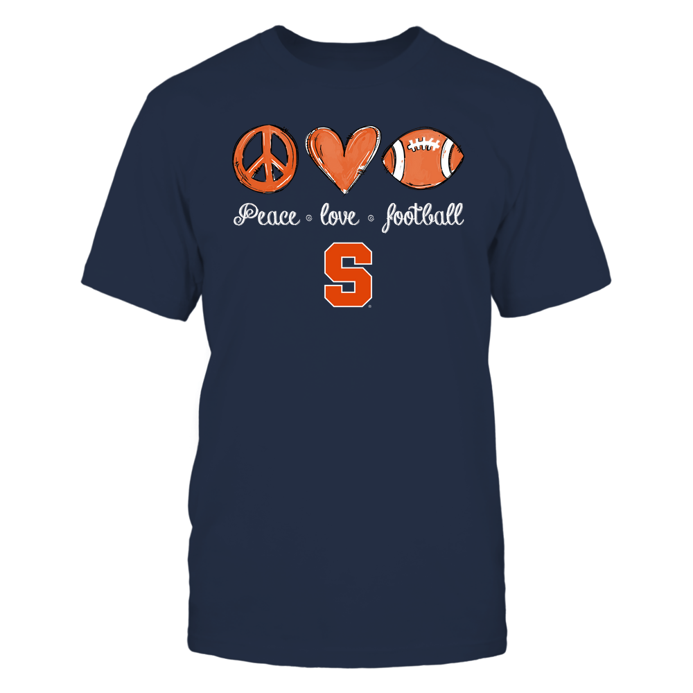 Syracuse Orange - Peace Love Football - Hand Drawn - Team Front picture